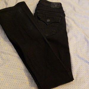 True Religion black Jean's, slight flare, size 25